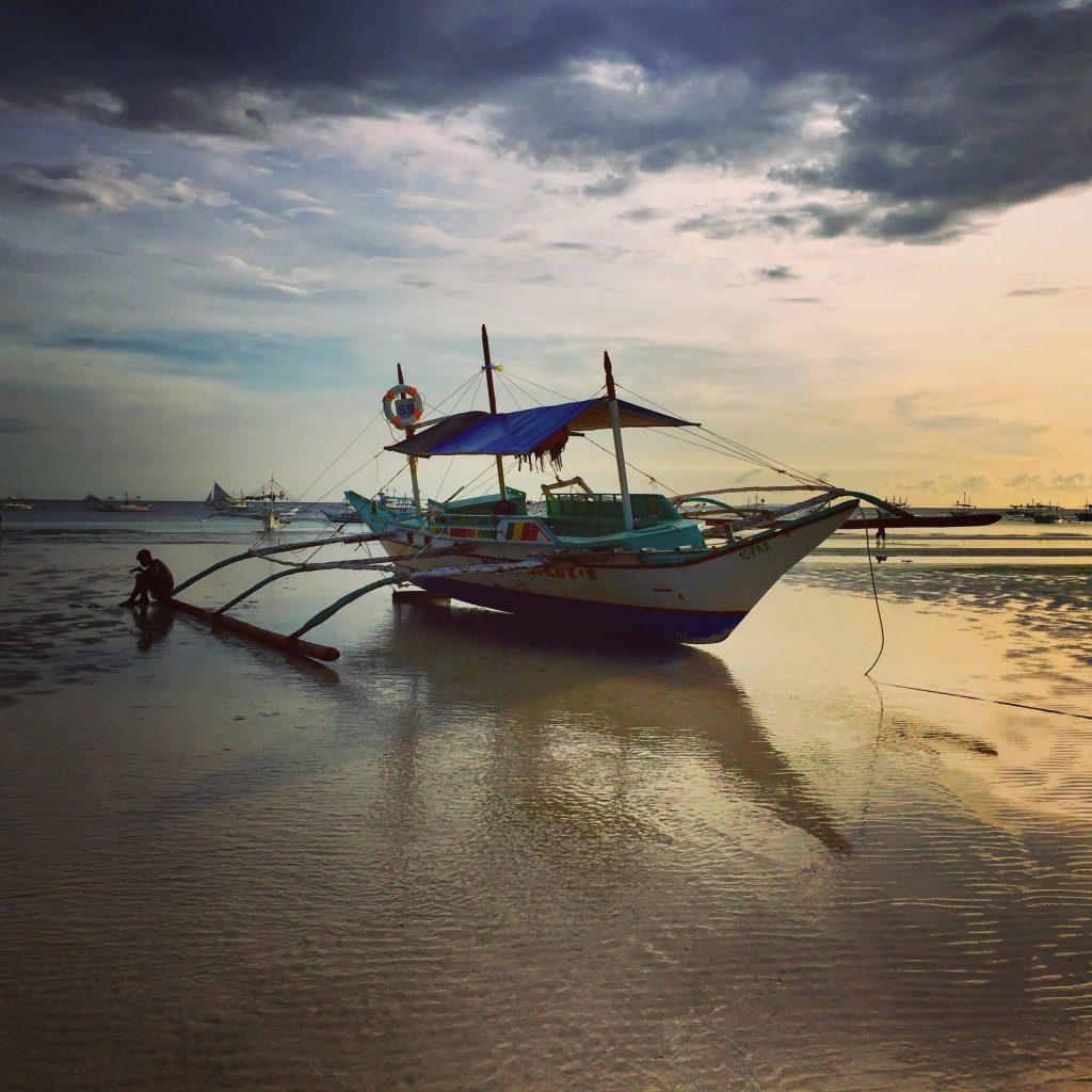Filippinerne - Boracay, båd, skumring - rejser