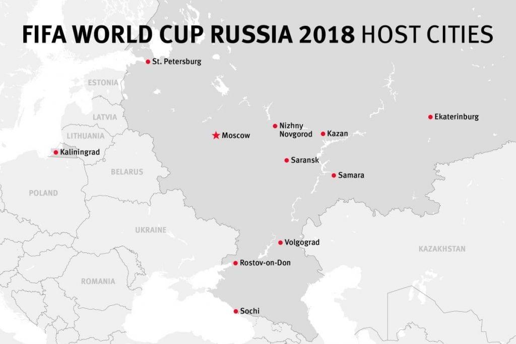 Rusland - VM, kort - rejser