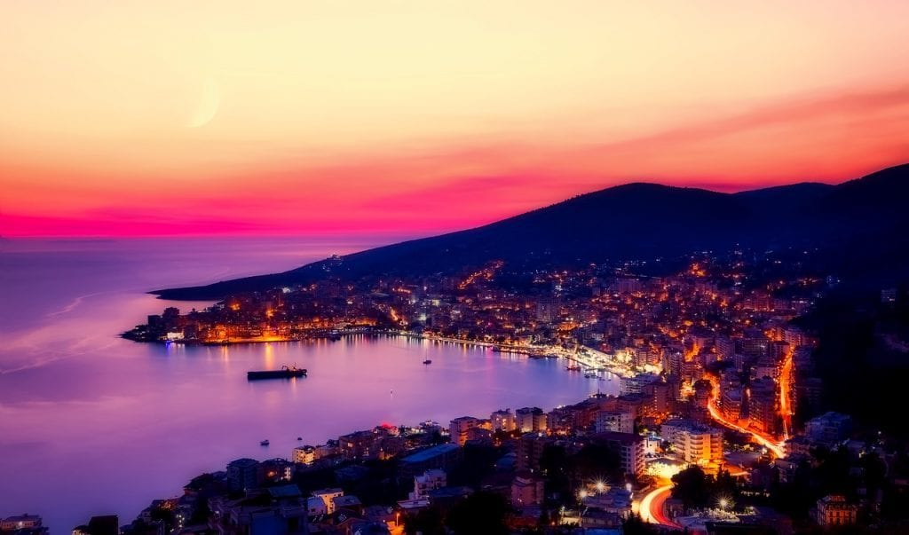 Albanien - Saranda - solnedgang
