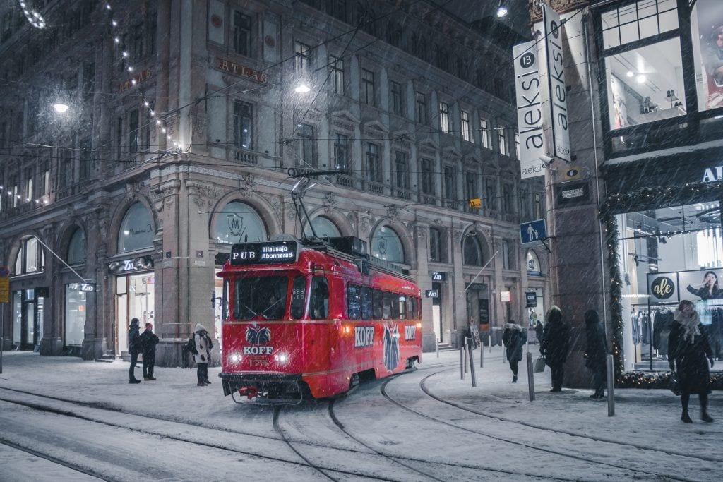 Helsinki - sporvogn sne finland - rejser