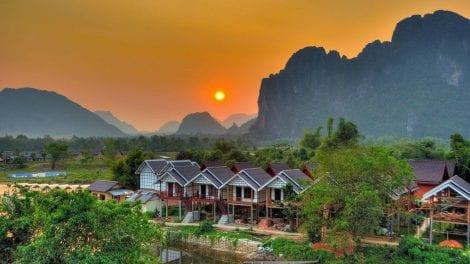 Laos - solnedgang - rejser